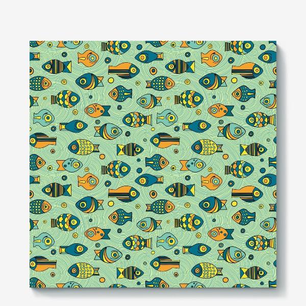 """Холст «Подводный мир. Орнамент """"Рыбки""""»"""