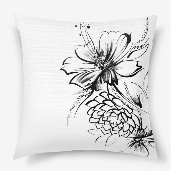 Подушка «Ромашка и роза на белом фоне»