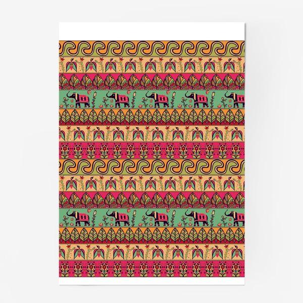 """Постер «Этнический орнамент """"Слоны, птицы, цветы, листья, волны""""»"""