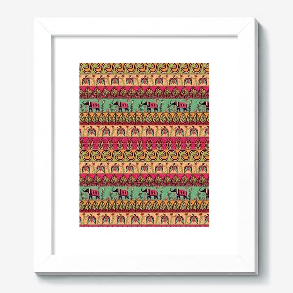 """Картина «Этнический орнамент """"Слоны, птицы, цветы, листья, волны""""»"""