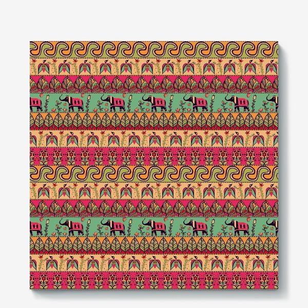 """Холст «Этнический орнамент """"Слоны, птицы, цветы, листья, волны""""»"""