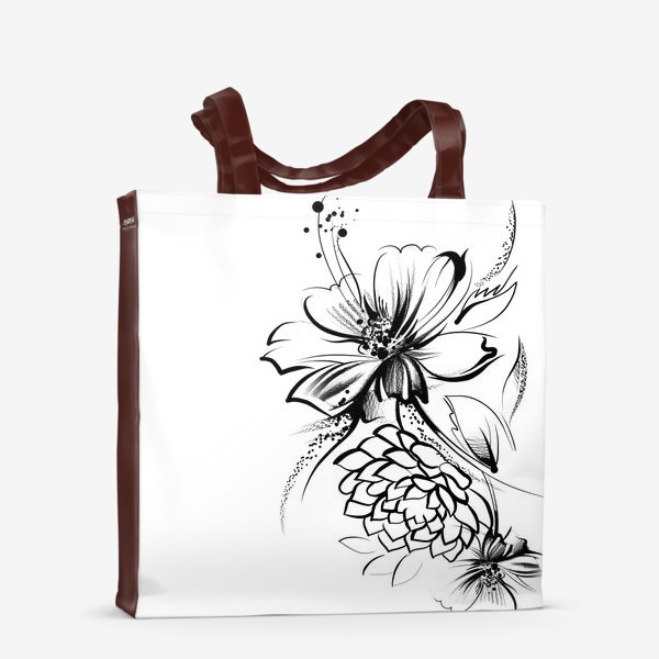 Сумка-шоппер «Ромашка и роза на белом фоне»