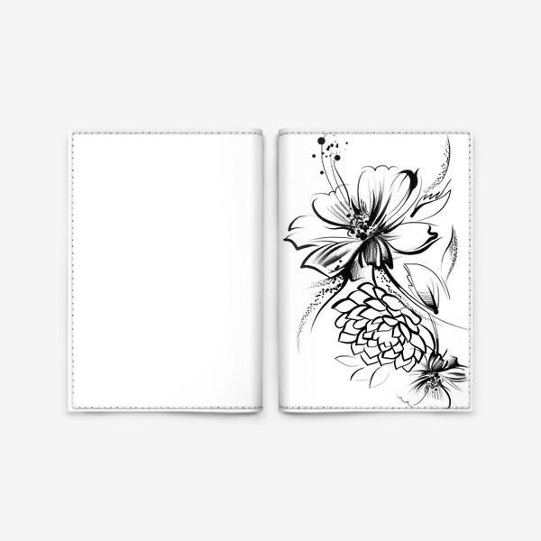 Обложка для паспорта «Ромашка и роза на белом фоне»