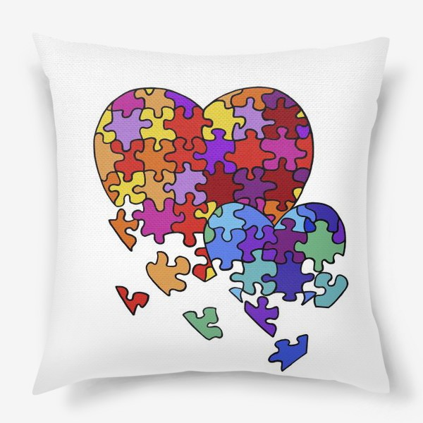 Подушка «Сердца-пазлы»