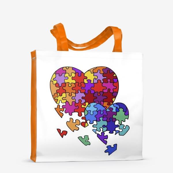 Сумка-шоппер «Сердца-пазлы»