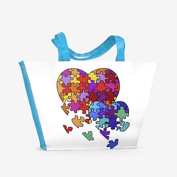 Пляжная сумка «Сердца-пазлы»