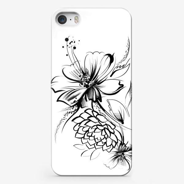 Чехол iPhone «Ромашка и роза на белом фоне»