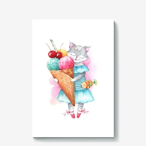 Холст «Кошка и мороженое»