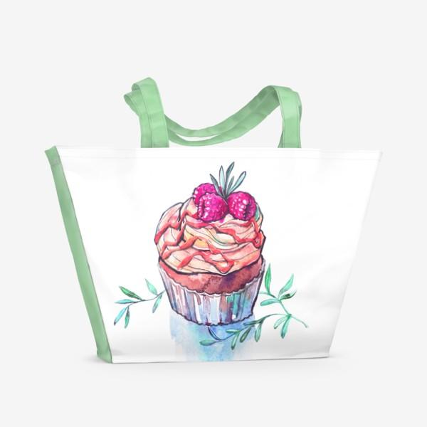 Пляжная сумка «Пироженое с малиной»