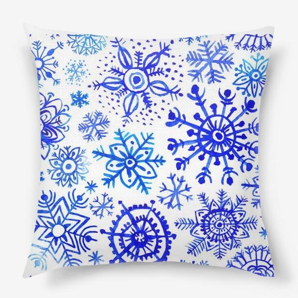 Подушка «Снежинки гжель»