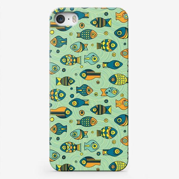 """Чехол iPhone «Подводный мир. Орнамент """"Рыбки""""»"""