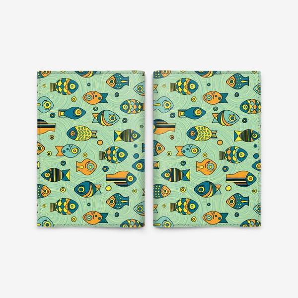 """Обложка для паспорта «Подводный мир. Орнамент """"Рыбки""""»"""