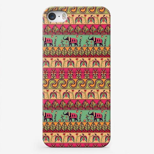 """Чехол iPhone «Этнический орнамент """"Слоны, птицы, цветы, листья, волны""""»"""