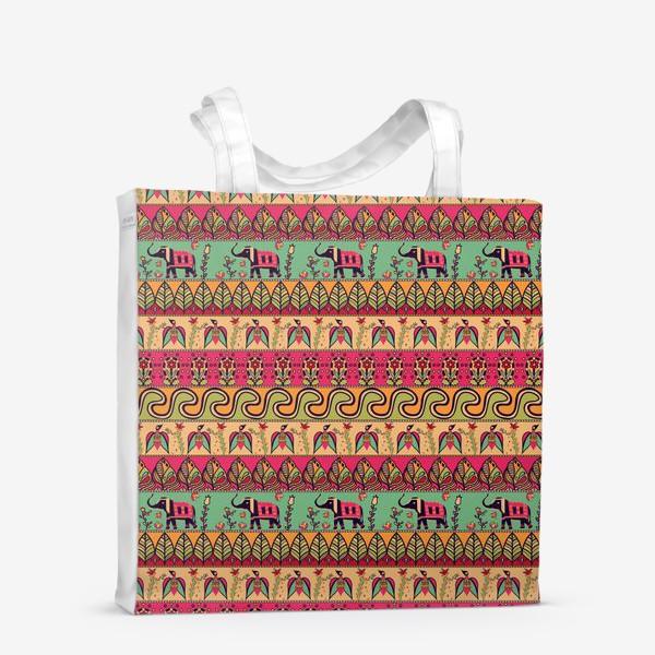 """Сумка-шоппер «Этнический орнамент """"Слоны, птицы, цветы, листья, волны""""»"""