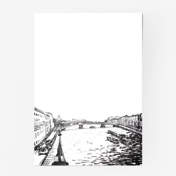 Постер «Tourist boat on the Neva River at the background of the Winter Palace and  Rostral column. Black ink-drawing of St. Petersburg landmark»