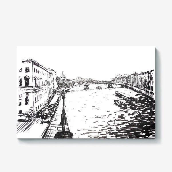 Холст «Tourist boat on the Neva River at the background of the Winter Palace and  Rostral column. Black ink-drawing of St. Petersburg landmark»