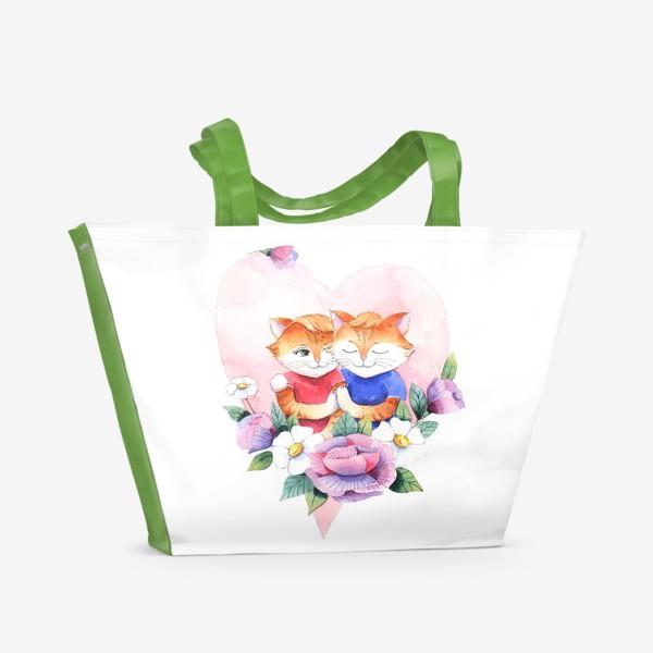 Пляжная сумка «Влюбленные котики»