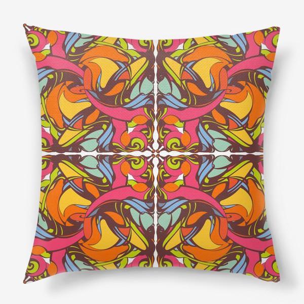 Подушка «Абстрактный оранжевый узор»