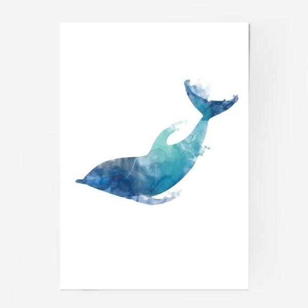 Постер «Акварельный дельфин»