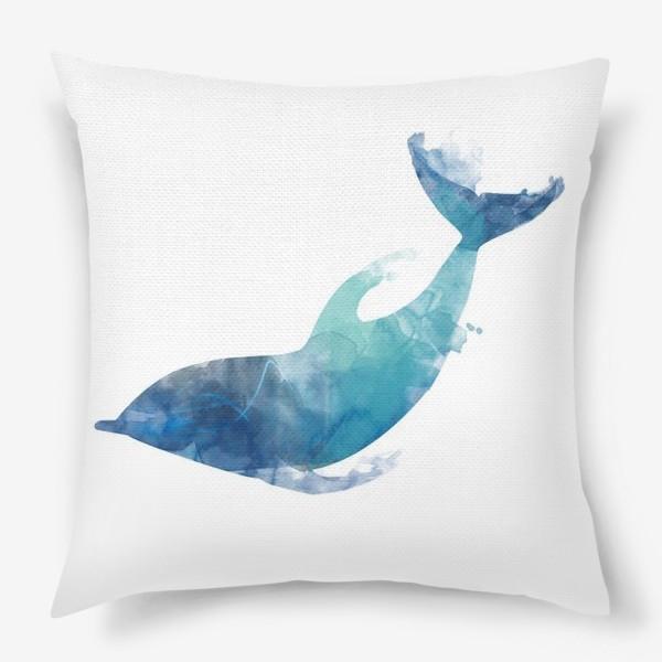 Подушка «Акварельный дельфин»