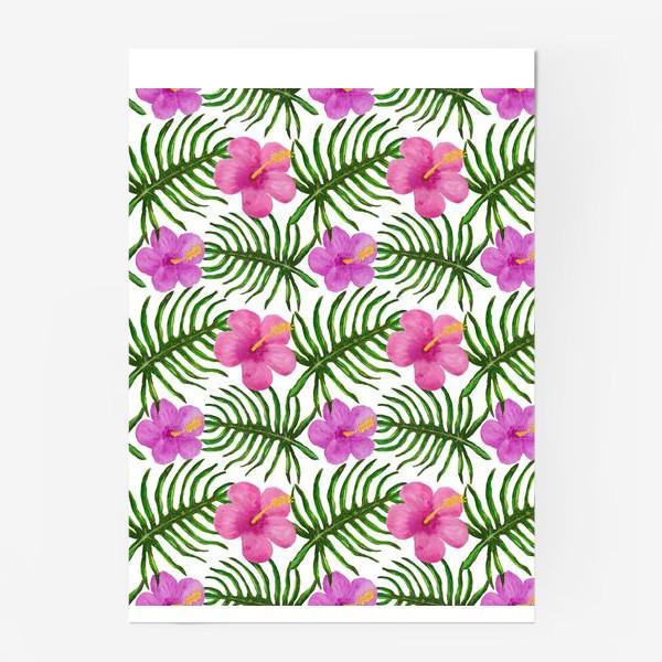 Постер «Palm Leaves and Hibiscus Гибискус Пальмовые Листья»