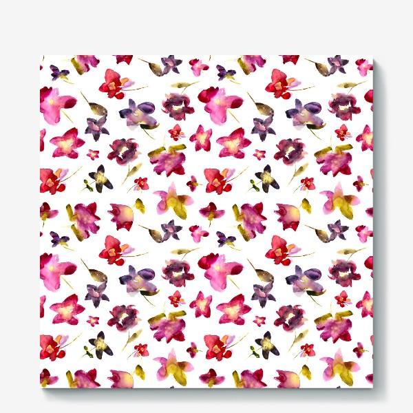 Холст «Floral vibes \\ Акварельные цветы»