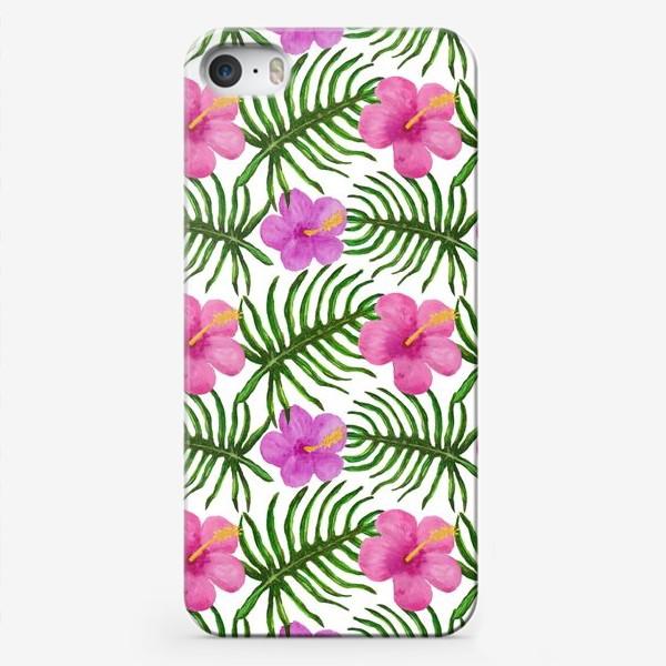 Чехол iPhone «Palm Leaves and Hibiscus Гибискус Пальмовые Листья»