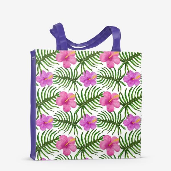 Сумка-шоппер «Palm Leaves and Hibiscus Гибискус Пальмовые Листья»