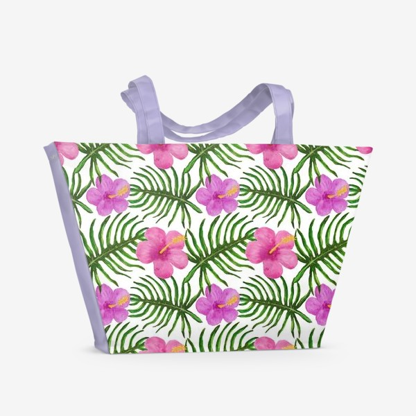 Пляжная сумка «Palm Leaves and Hibiscus Гибискус Пальмовые Листья»