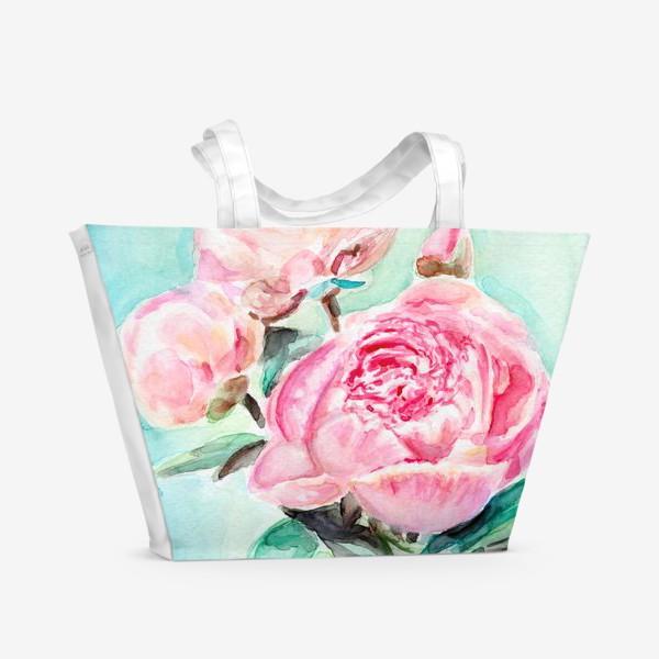 Пляжная сумка «Розовые пионы»