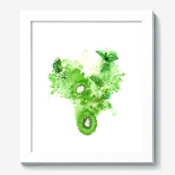 Картина «Сочные киви, свежая мята и зеленая акварель на белом фоне.»