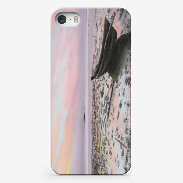 Чехол iPhone «закат на море с лодкой»