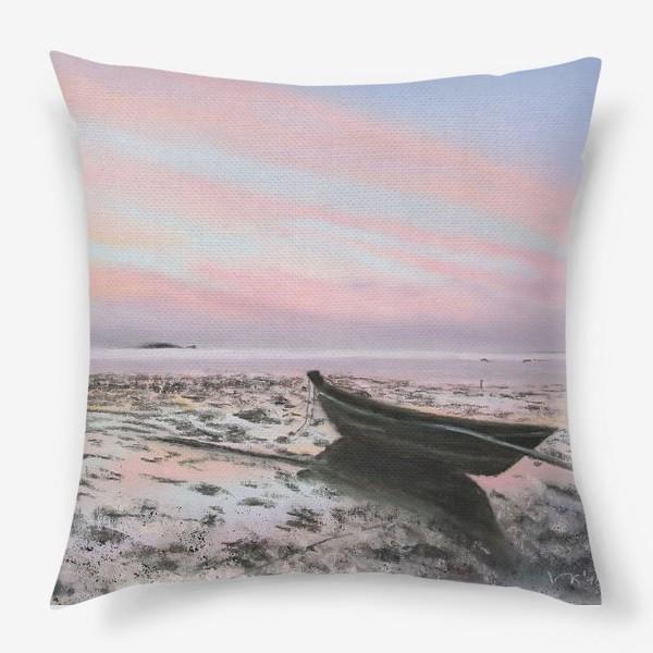 Подушка «закат на море с лодкой»