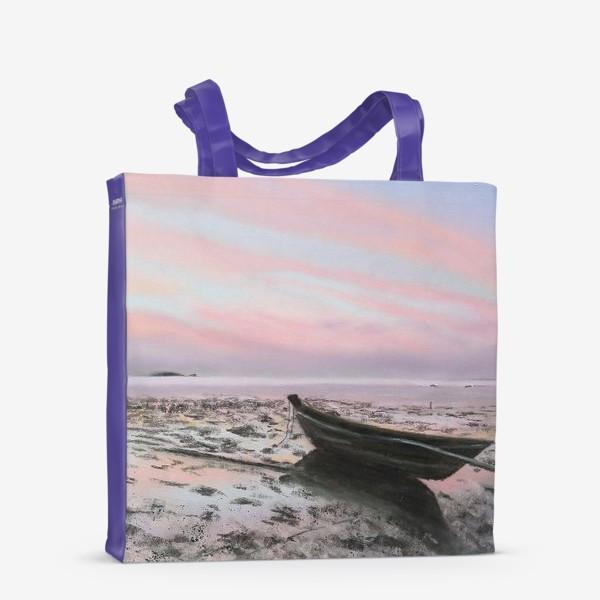 Сумка-шоппер «закат на море с лодкой»
