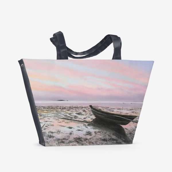 Пляжная сумка «закат на море с лодкой»