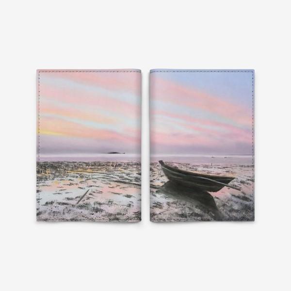 Обложка для паспорта «закат на море с лодкой»