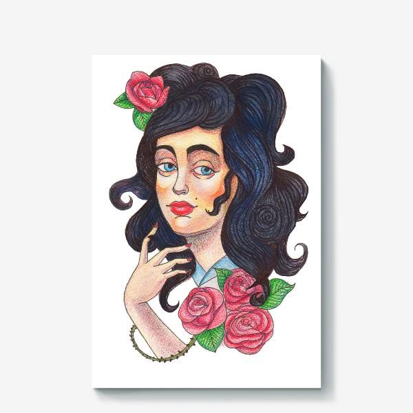 Холст «Девушка и розы»