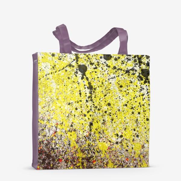 Сумка-шоппер «Черные пятна краски на желтом фоне»
