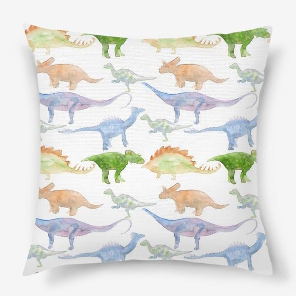 Подушка «Акварельные динозавры, паттерн. Dinosaur watercolor pattern»