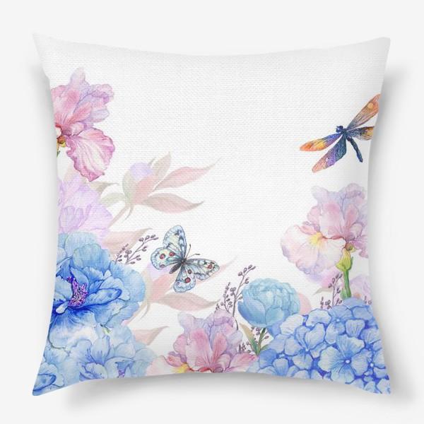 Подушка «цветы акварель»