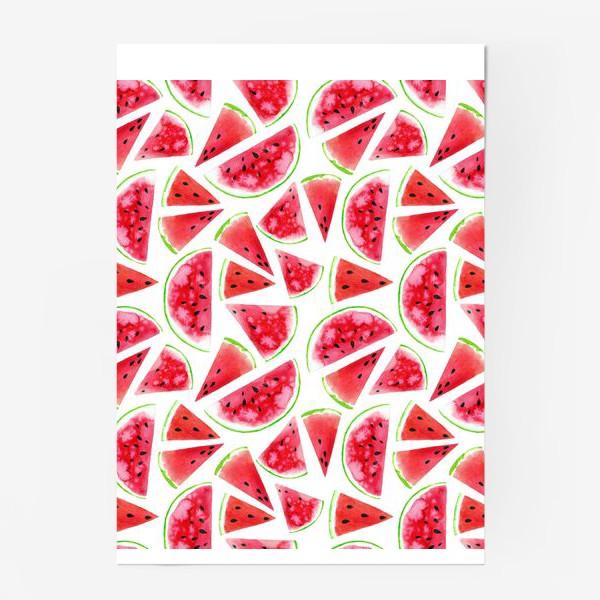 Постер «Акварельные кусочки арбузов. Летний сочный паттерн»