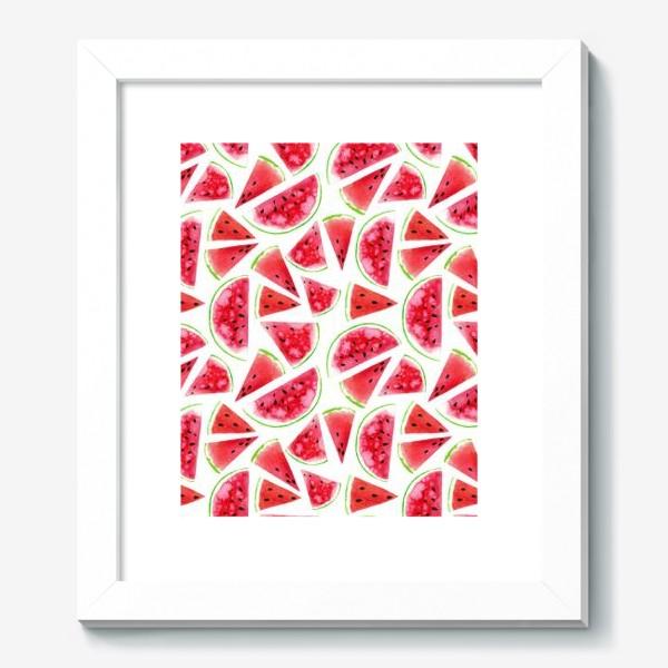 Картина «Акварельные кусочки арбузов. Летний сочный паттерн»