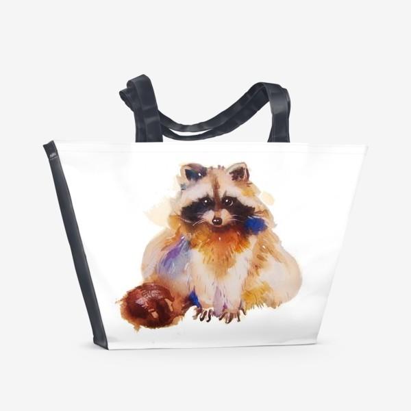 Пляжная сумка «Енот с хвостом»