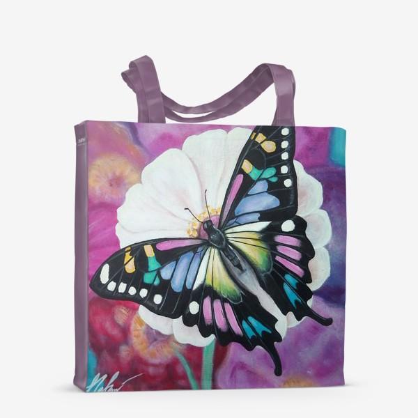 Сумка-шоппер «Бабочка на цветке.»