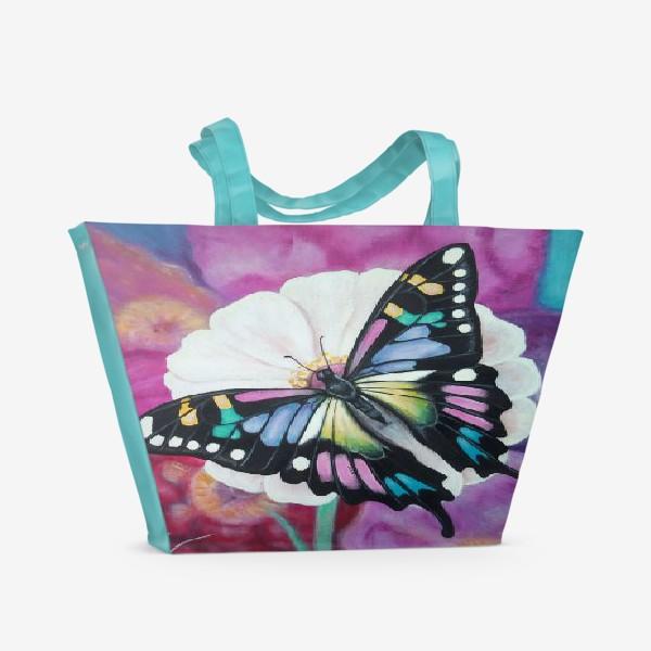 Пляжная сумка «Бабочка на цветке.»