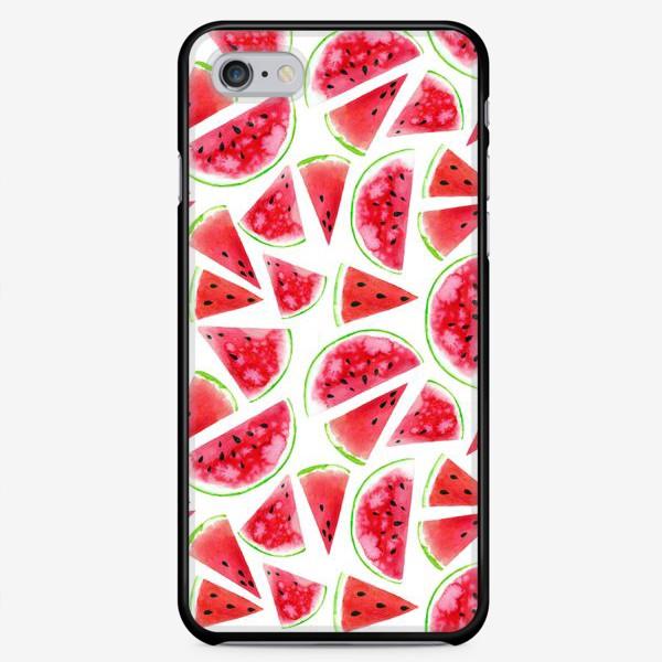Чехол iPhone «Акварельные кусочки арбузов. Летний сочный паттерн»