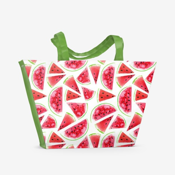 Пляжная сумка «Акварельные кусочки арбузов. Летний сочный паттерн»