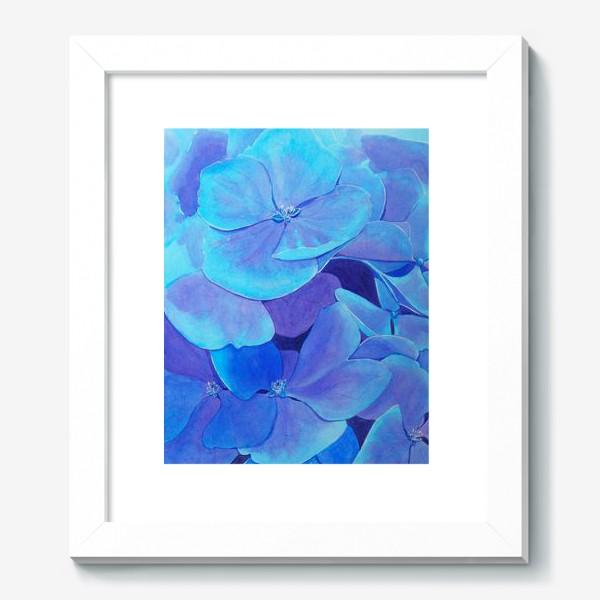 Картина «Цветы голубой гортензии, акварельный летний ботанический принт»