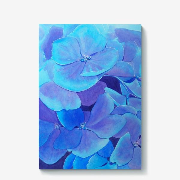 Холст «Цветы голубой гортензии, акварельный летний ботанический принт»
