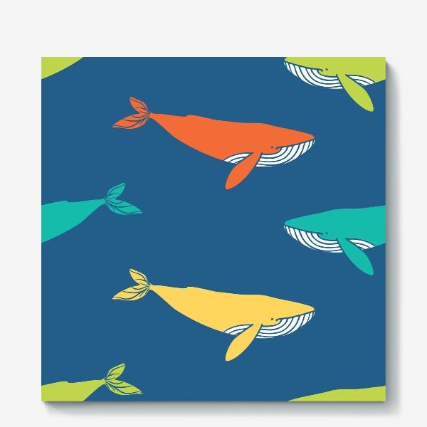 Холст «Цветные киты»